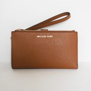 Michael Kors JST Double Zip Leather Wallet Brown